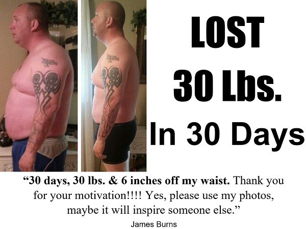 he lost 30 pounds in 30 days