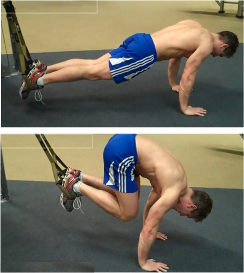 Suspended crunch TRX ab exercise