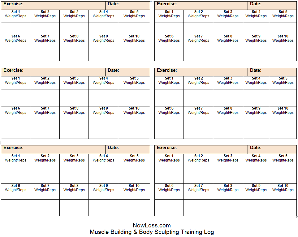 printable workout log template – Food Journal Template Free